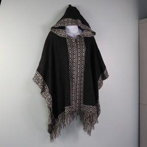 Mystree Fringed Hooded Poncho Sweater